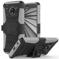 *SALE* Advanced Armor Hybrid Kickstand Case with Holster for Motorola Moto G5 Plus - Black Grey