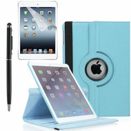 360 Degree Smart Rotating Leather Case Accessory Bundle for iPad (2018/2017) / iPad Air 2 / iPad Air - Baby Blue