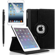 360 Degree Smart Rotating Leather Case Accessory Bundle for iPad (2018/2017) / iPad Air 2 / iPad Air - Black