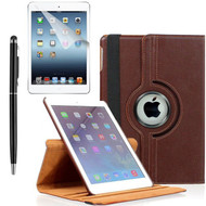 360 Degree Smart Rotating Leather Case Accessory Bundle for iPad (2018/2017) / iPad Air - Brown