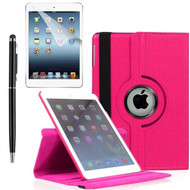 360 Degree Smart Rotating Leather Case Accessory Bundle for iPad (2018/2017) / iPad Air 2 / iPad Air - Hot Pink