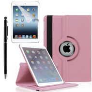 360 Degree Smart Rotating Leather Case Accessory Bundle for iPad (2018/2017) / iPad Air 2 / iPad Air - Pink