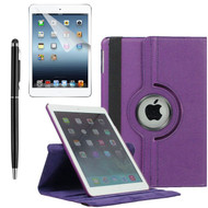 360 Degree Smart Rotating Leather Case Accessory Bundle for iPad (2018/2017) / iPad Air 2 / iPad Air - Purple