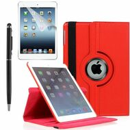 360 Degree Smart Rotating Leather Case Accessory Bundle for iPad (2018/2017) / iPad Air 2 / iPad Air - Red