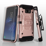 3-IN-1 Kinetic Hybrid Armor Case with Holster and Screen Protector for Samsung Galaxy S8 - Rose Gold