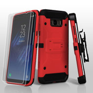 *SALE* 3-IN-1 Kinetic Hybrid Armor Case with Holster and Screen Protector for Samsung Galaxy S8 Plus - Red