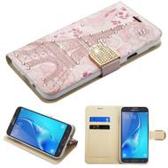 Luxury Bling Portfolio Leather Wallet Case for Samsung Galaxy J7 (2017) / J7 V / J7 Perx - Eiffel Tower