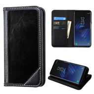 Mybat Genuine Leather Wallet Case for Samsung Galaxy S8 Plus - Black