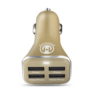 HyperGear High Power Quad USB 6.8A Car Charger - Gold