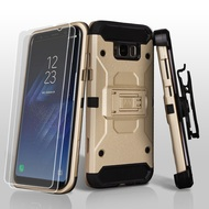 3-IN-1 Kinetic Hybrid Armor Case with Holster and Screen Protector for Samsung Galaxy S8 - Gold
