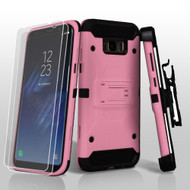 3-IN-1 Kinetic Hybrid Armor Case with Holster and Screen Protector for Samsung Galaxy S8 - Pink