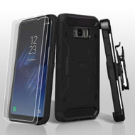 3-IN-1 Kinetic Hybrid Armor Case with Holster and Screen Protector for Samsung Galaxy S8 Plus - Black