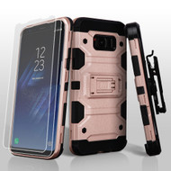 Military Grade Certified Storm Tank Hybrid Case with Holster and Screen Protector for Samsung Galaxy S8 Plus - Rose Gold