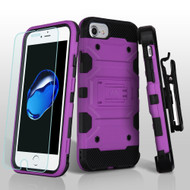*SALE* Military Grade Storm Tank Case + Holster + Tempered Glass Screen Protector for iPhone 8 / 7 / 6S / 6 - Purple