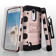 Military Grade Storm Tank Case + Holster + Tempered Glass for LG Aristo / Fortune / Phoenix 3 - Rose Gold