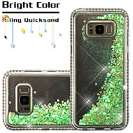 Diamond Quicksand Glitter Transparent Case for Samsung Galaxy S8 Plus - Green