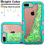 TUFF Quicksand Glitter Hybrid Armor Case for iPhone 8 Plus / 7 Plus / 6S Plus / 6 Plus - Teal Fluorescent Green
