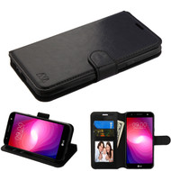 Book-Style Leather Folio Case for LG X Power 2 / Fiesta - Black