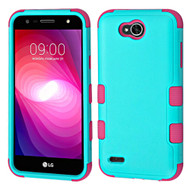 Military Grade Certified TUFF Hybrid Armor Case for LG X Power 2 / Fiesta - Teal Green Hot Pink
