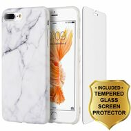 Marble TPU Case and Tempered Glass Screen Protector for iPhone 8 Plus / 7 Plus - White