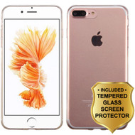 Rubberized Crystal Case for iPhone 8 Plus / 7 Plus and Tempered Glass Screen Protector - Clear