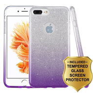 Full Glitter Hybrid Protective Case and Tempered Glass Screen Protector for iPhone 8 Plus / 7 Plus - Gradient Purple