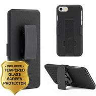 Kickstand Protective Case with Holster and Tempered Glass Screen Protector for iPhone 8 / 7 - Black