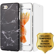 Marble TPU Case and Tempered Glass Screen Protector for iPhone 8 / 7 - Black