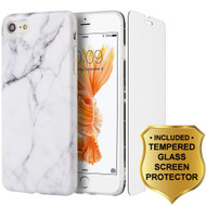 Marble TPU Case and Tempered Glass Screen Protector for iPhone 8 / 7 - White