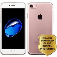 Ultra Slim Protective Shell Case and Tempered Glass Screen Protector for iPhone 8 / 7 - Clear