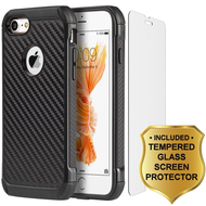 Tough Anti-Shock Hybrid Case and Tempered Glass Screen Protector for iPhone 8 / 7 - Carbon Fiber Black