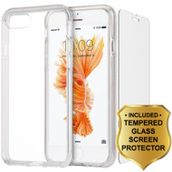Crystal Clear TPU Case with Bumper Support and Tempered Glass Screen Protector for iPhone 8 Plus / 7 Plus - Clear