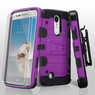 Military Grade Storm Tank Hybrid Case + Holster + Tempered Glass for LG Aristo / Fortune / K8 2017 / Phoenix 3 - Purple