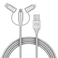 Naztech MFi Braided 3-in-1 Hybrid USB Cable - Silver