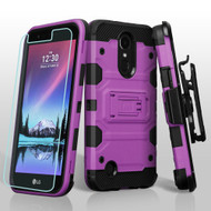 *SALE* Military Grade Storm Tank Case + Holster + Screen Protector for LG K20 Plus / K20 V / Harmony - Purple