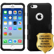 Military Grade Certified TUFF Hybrid Case and Tempered Glass Screen Protector for iPhone 6 / 6S - Black