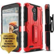 *SALE* Heavy Duty Hybrid Armor Case with Holster and Tempered Glass Screen Protector for ZTE Max XL / Blade Max 3 - Red