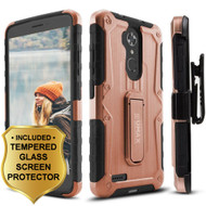 *SALE* Heavy Duty Hybrid Case with Holster and Tempered Glass Screen Protector for ZTE Max XL / Blade Max 3 - Rose Gold
