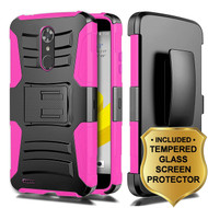 *SALE* Advanced Armor Hybrid Case + Holster + Tempered Glass Screen Protector for ZTE Max XL / Blade Max 3 - Hot Pink