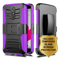 *SALE* Advanced Armor Hybrid Kickstand Case + Holster + Tempered Glass Protector for ZTE Max XL / Blade Max 3 - Purple