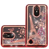 Electroplating Quicksand Glitter Transparent Case for LG K20 Plus / K20 V / Harmony - Eiffel Tower Rose Gold