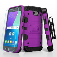 Storm Tank Holster Case + Tempered Glass for Samsung Galaxy J3 (2017) / J3 Emerge / J3 Prime / Amp Prime 2 - Purple