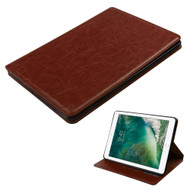 Book-Style Leather Folio Case for iPad (2018/2017) - Brown