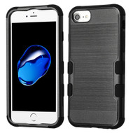Military Grade Certified Brushed TUFF Hybrid Armor Case for iPhone 8 / 7 / 6S / 6 - Black