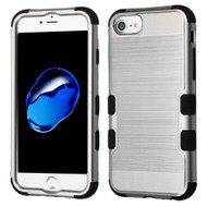 Military Grade Certified Brushed TUFF Hybrid Armor Case for iPhone 8 / 7 / 6S / 6 - Silver