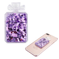 Adhesive Quicksand Glitter Sticker - Perfume Bottle Purple