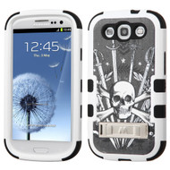 Military Grade Certified TUFF Image Hybrid Armor Case with Stand for Samsung Galaxy S3 - Sword and Skull