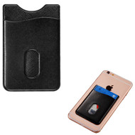 Adhesive Leather Card Pocket Pouch - Black