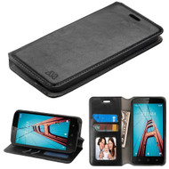 Book-Style Leather Folio Case for Coolpad Defiant - Black