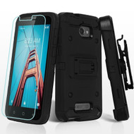 3-IN-1 Kinetic Hybrid Armor Case with Holster and Tempered Glass Screen Protector for Coolpad Defiant - Black